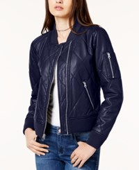 Guess Bella Faux Leather Bomber Jacket Evening Blue