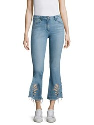 3X1 Freja Cutout Cropped Flared Jeans Light Blue