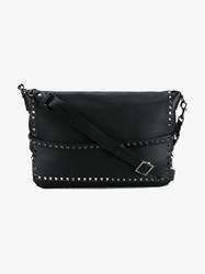 Valentino Rockstud Leather Messenger Bag Black Silver White Truffle Denim