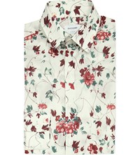 Duchamp Floral Tailored Fit Cotton Shirt Burgundy