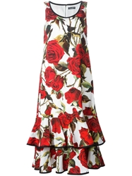 Dolce And Gabbana Red Rose Print Dress