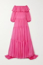 Valentino Off The Shoulder Tiered Ruffled Silk Chiffon Gown Pink
