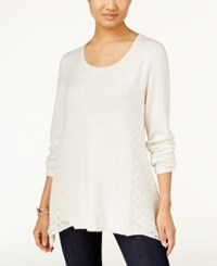 Styleandco. Style Co. Crewneck Crochet Detail Sweater Only At Macy's Warm Ivory
