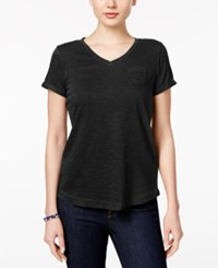 Styleandco. Style Co. Petite V Neck Pocket T Shirt Only At Macy's Deep Black