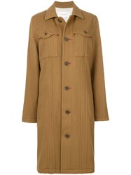 Julien David Pocket Detail Coat Silk Cotton Nylon Wool Brown