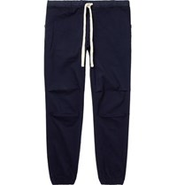 Beams Plus Navy Slim Fit Tapered Grosgrain Trimmed Cotton Blend Twill Drawstring Trousers Navy