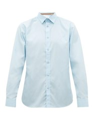 Burberry Louis Logo Embroidered Stretch Cotton Shirt Blue
