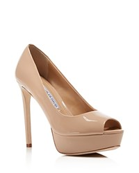 Charles David Nivia Peep Toe High Heel Platform Pumps Nude