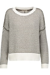 J Brand Alexandria Striped Cotton Blend Sweater Brown
