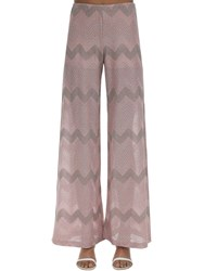 M Missoni Zig Zag Lurex Knit Flared Pants Pink