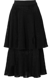 Sonia Rykiel Tiered Ribbed Wool Blend Midi Skirt Black Gbp