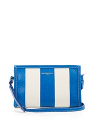 Balenciaga Bazar Leather Cross Body Bag Blue Stripe