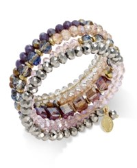Inc International Concepts Gold Tone Mauve And Metallic Beaded Coil Bracelet Only At Macy's Multi