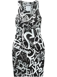 Moschino Graffiti Print Dress Black