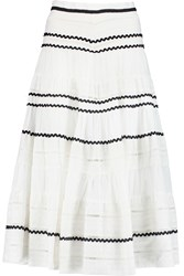 Maje Jeanne Embroidered Cotton Midi Skirt White