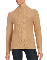 Lord And Taylor Cable Knit Sweater Classic Camel Heather