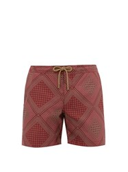 Thorsun Quilt Print Titan Fit Swim Shorts Red