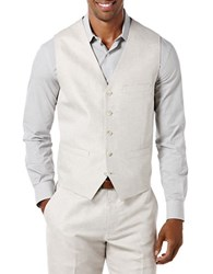 Perry Ellis Pointed Twill Vest Natural Linen