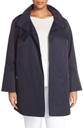 Plus Size Women's Gallery Button Detail A Line Raincoat Ink Navy