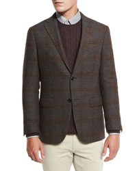 Ermenegildo Zegna Trofeo Tweed Sport Jacket Gray Brown Gray Brown
