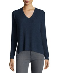 Joie Long Sleeve V Neck Knit Sweater Heather Mi