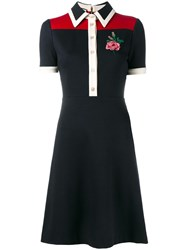 Gucci Rose Embroidered Polo Dress Blue