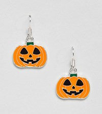 Monki Halloween Pumpkin Earrings In Orange Black