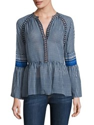 Bcbgmaxazria Striped Silk V Neck Peasant Blouse Blue