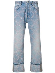 Valentino All Over Logo Print Jeans Blue