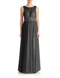 Basix Ii Sequined Illusion Front Gown Black