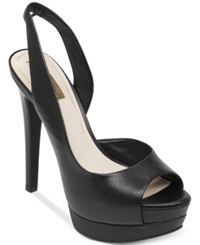 Jessica Simpson Sabella Slingback Platform Pumps Women's Shoes Black Leather
