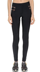 Blue Life Zipper Moto Leggings Black