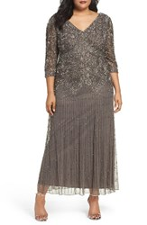Pisarro Nights Plus Size Women's Beaded V Neck Lace Illusion Gown Grey