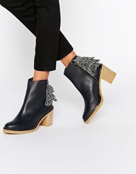 Miista Brianna Heeled Leather Ankle Boots Dark Navy