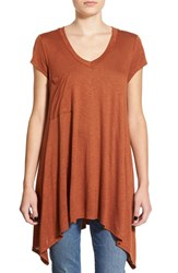 Junior Women's Sun And Shadow Pocket Long Tee Brown Siena