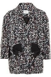 Issa Aylesworth Bow Embellished Flocked Wool Blend Coat Black