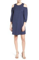 Halogenr Women's Halogen Denim Cold Shoulder Shift Dress Navy Pique