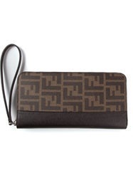 Fendi Long Ff Logo Zip Around Wallet Brown