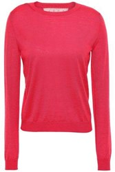 Red Valentino Redvalentino Woman Point D'esprit Paneled Cashmere And Silk Blend Sweater Fuchsia