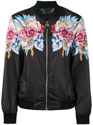 Philipp Plein Flowers Bomber Jacket Women Cotton Polyamide Spandex Elastane S Black