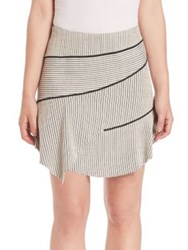 Iro Jasmine Asymmetrical Striped Skirt Ecru Black