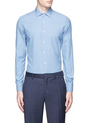 Lardini Italian Collar Floral Jacquard Cotton Shirt Blue