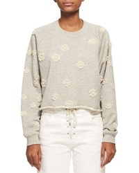 Chloe Floral Embroidered Cotton Sweatshirt Gray