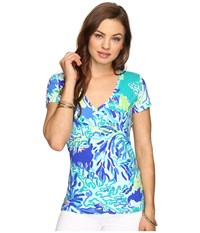 Lilly Pulitzer Michele Top Brilliant Blue Wade And Sea Women's T Shirt