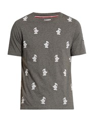 Moncler Gamme Bleu Duck Embroidered Crew Neck Cotton T Shirt Grey Multi
