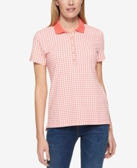 Tommy Hilfiger Short Sleeve Gingham Print Polo Only At Macy's Melon Ivory