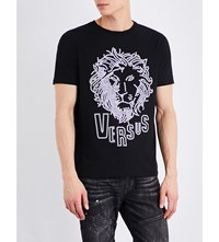 Versus Studded Lion Cotton Jersey T Shirt Black Stampa