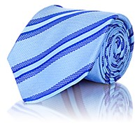 Kiton Men's Textured Stripe Necktie Light Blue