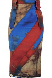 Vivienne Westwood Fall Printed Stretch Cotton Pencil Skirt Blue