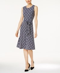 Charter Club Petite Striped Fit And Flare Dress Only At Macy's Intrepid Blue Combo